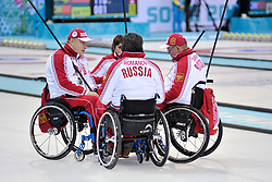 Marat Romanov, Andrey Smirnov, Alexander Shevchenko, Svetlana Pakhomova, Wheelchair Curling Semi Finals at the 2014 Sochi Winter Paralympic Games, Russia