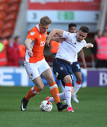 Brad Potts of Blackpool (L) and Oliver Lee of Luton Town in action - Mandatory by-line: Jack Phillips/JMP - 14/05/2017 - FOOTBALL - Bloomfield Road - Blackpool, England - Blackpool v Luton Town - Football League 2 Play-off Semi Final Leg 1