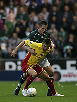 Photo: Lee Earle.<br /> Plymouth Argyle v Watford. The FA Cup. 11/03/2007.Plymouth's Krisztian Timar (L) holds off Tamas Priskin.