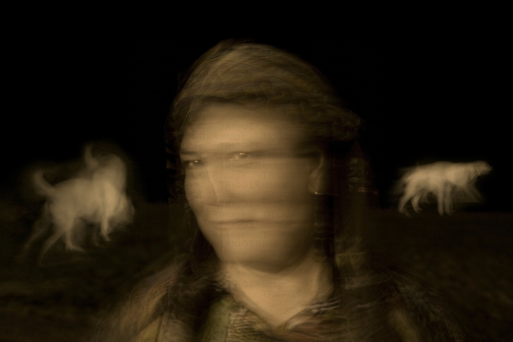 The blurred face of a woman with two dogs