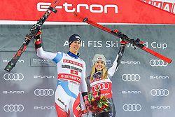 19.02.2019, Stockholm, SWE, FIS Weltcup Ski Alpin, Parallelslalom, Siegerehrung, im Bild v.l. 1. Platz Ramon Zenhaeusern (SUI), 1. Platz Mikaela Shiffrin (USA) mit ihrem Team // f.l. race winner Ramon Zenhaeusern of Switzerland race winner Mikaela Shiffrin of the USA during the winner Ceremony for the parallel slalom of FIS ski alpine world cup at the Stockholm, Sweden on 2019/02/19. EXPA Pictures © 2019, PhotoCredit: EXPA/ Nisse Schmidt<br /> <br /> *****ATTENTION - OUT of SWE*****