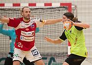 Jesper Dahl (Nordsjælland) under kampen i Herrehåndbold Ligaen mellem Nordsjælland Håndbold og Aalborg Håndbold den 27. november 2019 i Helsinge Hallen (Foto: Claus Birch).