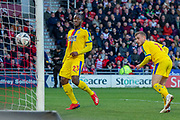 Goal Crystal Palace midfielder Max Meyer (7) heads the ball and scores a goal just before half time 0-2 during the The FA Cup 5th round match between Doncaster Rovers and Crystal Palace at the Keepmoat Stadium, Doncaster, England on 17 February 2019.
