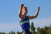 Jax THOIRS celebrates after securing the silver medal in the Men's Pole Vault during the Muller British Athletics Championships at Alexander Stadium, Birmingham, United Kingdom on 24 August 2019.