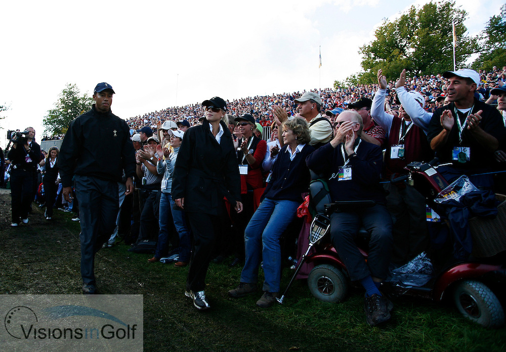 Tiger Woods with wife Elin<br /> on the final day at the 36th Ryder Cup Matches 2006, K Club, Ireland, 060924<br /> Picture Credit: Mark Newcombe / visionsingolf.com