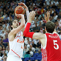 10 August 2012: Spain Pau Gasol takes a three points jumpshot during 67-59 Team Spain victory over Team Russia, during the men's basketball semi-finals, at the North Greenwich Arena, in London, Great Britain.