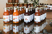 Bottles of cottage industry preserves and sauces