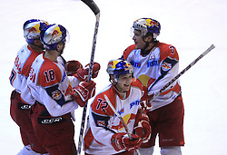 John Hughes (7)and the players of Redbull Salzburg at ice hockey match Acroni Jesencie vs EC Red Bull Salzburg in EBEL League,  on November 23, 2008 in Arena Podmezaklja, Jesenice, Slovenia. (Photo by Vid Ponikvar / Sportida)