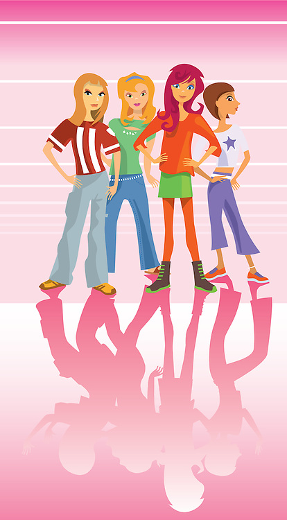Female youths standing together