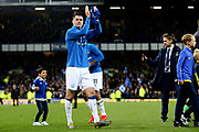 Everton defender Michael Keane (4) makes his way round in the lap of appreciation  during the Premier League match between Everton and Burnley at Goodison Park, Liverpool, England on 3 May 2019.