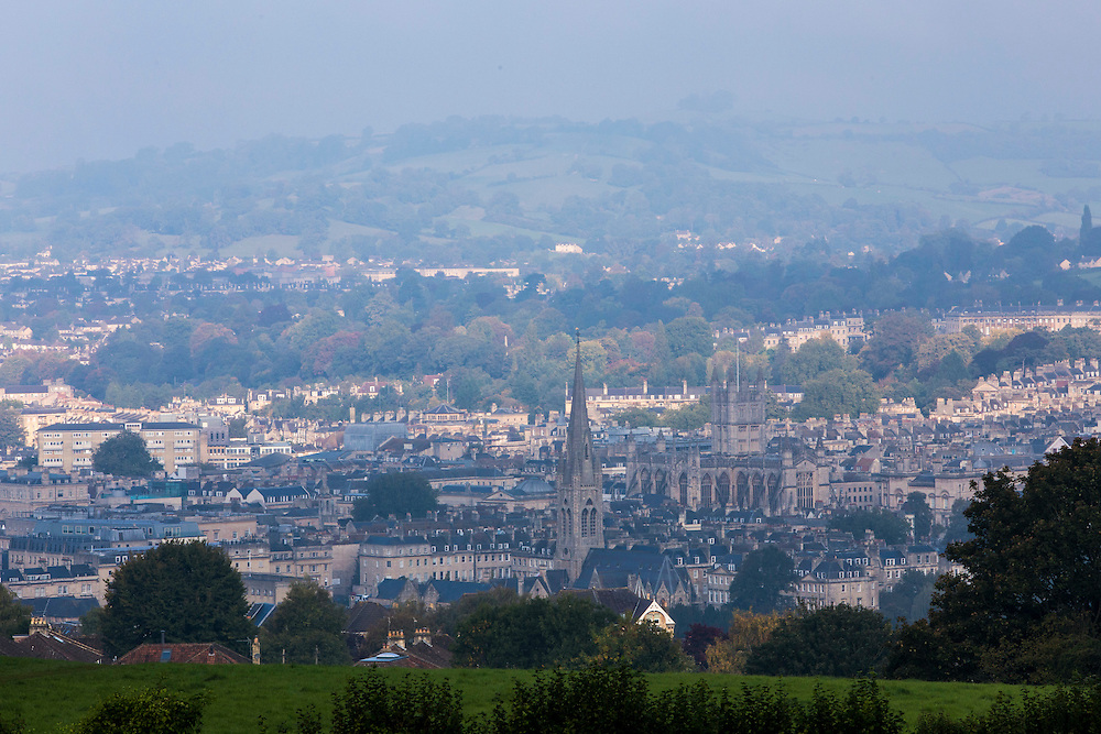 The City skyline of Bath, including the cathedral. Bath and West Community Energy. Bath, Somerset.