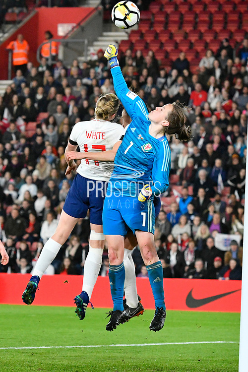 Laura O'Sullivan (1) of Wales punches the ball away from Ellen White (17) of England during the FIFA Women's World Cup UEFA Qualifier match between England Ladies and Wales Women at the St Mary's Stadium, Southampton, England on 6 April 2018. Picture by Graham Hunt.