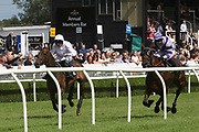 The contest to reach the finishing post during Uttoxeter Races at Uttoxeter Racecourse, Uttoxeter, United Kingdom on 30 July 2017. Photo by John Potts.