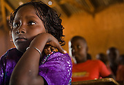 Girl in classroom at the Kabiline I Primary school in the village of Kabiline, Senegal on Wednesday June 13, 2007...