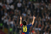 FC Barcelona's Lionel Messi celebrates his goal during the final of the UEFA football Champions League on May 27, 2009 at the Olympic Stadium in Rome.