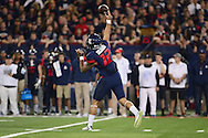 TUCSON, AZ - NOVEMBER 14:  Quarterback Anu Solomon #12 of the Arizona Wildcats makes a pass in the first half of the game against the Utah Utes at Arizona Stadium on November 14, 2015 in Tucson, Arizona. The Wildcats defeated the Utes 37-30 in double overtime.  (Photo by Jennifer Stewart/Getty Images)