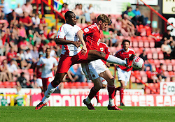 Bristol City's Jon Stead battles for the ball with Nottingham Forest's Wes Morgan  - Photo mandatory by-line: Joe Meredith/JMP - 25/04/2011 - SPORT - FOOTBALL - Championship - Bristol City v Nottingham Forest - Ashton Gate Stadium, Bristol, England