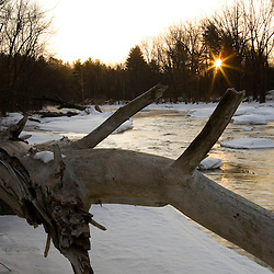 Winter dawn on the Ashuelot River in Winchester, New Hampshire.