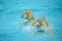 London, England, 22-04-12. Kristina KRAJCOVICOVA and Janna LABATHOVA (SVK) in the FINA Synchronised Swimming Qualifications.