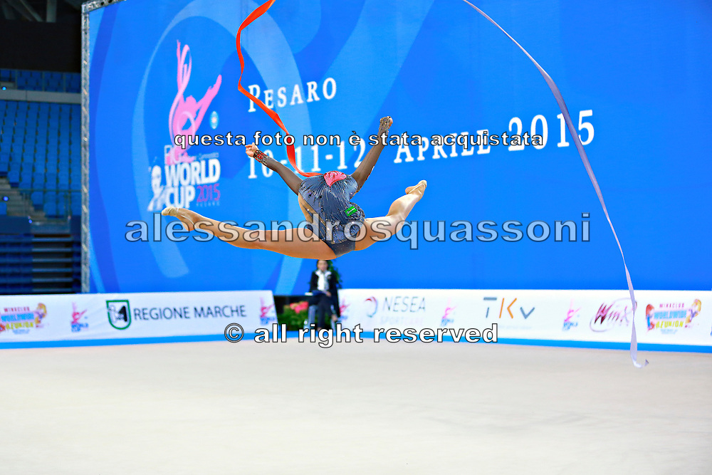Mamun Margarita during qualifying at ribbon in Pesaro World Cup at Adriatic Arena on 11 April 2015. Margarita was born November 1,1995 in Moscow.