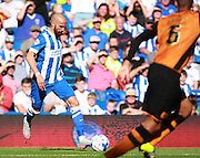 Brighton defender Bruno Saltor cuts inside during the Sky Bet Championship match between Brighton and Hove Albion and Hull City at the American Express Community Stadium, Brighton and Hove, England on 12 September 2015. Photo by Bennett Dean.