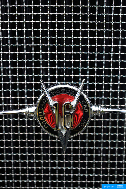 A Cadillac 16 emblem on a radiator grill at the Greenwich Concours d'Elegance Festival of Speed and Style featuring great classic vintage cars. Roger Sherman Baldwin Park, Greenwich, Connecticut, USA.  2nd June 2012. Photo Tim Clayton