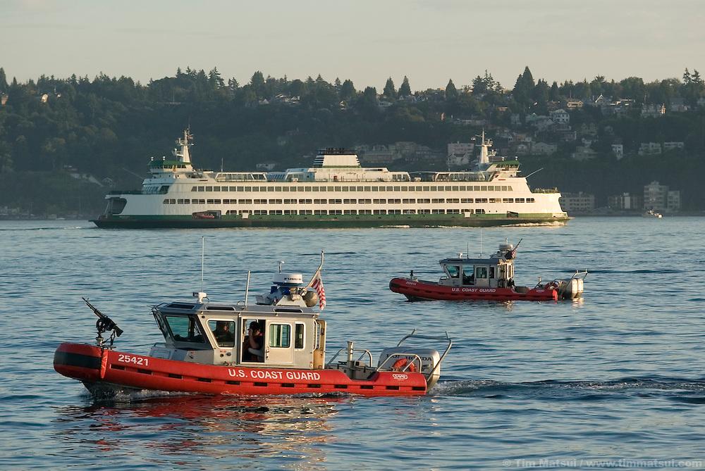 US Coast Guard patrol boats in Elliott Bay, Seattle, Washington, on July 17, 2004.