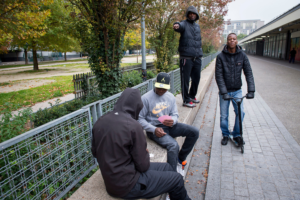 "10 years ago, on 27 October 2005, riots broke out in the French suburbs. Young people in the suburb La Courneuve at 5 km from Paris. They live in the 15 story appartment Mail de Fontenay, part of the ""4000"" complex, namd after the four thousand flats that have been built here in 1964.  19 October 2015, La Courneuve, France."