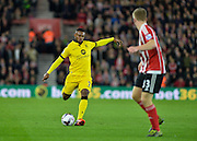 Aston Villas Leandro Bacuna and Southamptons Matt Targett during the Capital One Cup match between Southampton and Aston Villa at the St Mary's Stadium, Southampton, England on 28 October 2015. Photo by Adam Rivers.