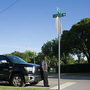 AUGUST 16, 2017--HOLLYWOOD--FLORIDA<br /> Pastor Eric Brown, 51, stands in the middle of his church, Mt. Pleasant AME Church in the Liberia section of Hollywood. Brown described the recent President Trump comments on the incidents in Virginia as bone crushing.<br /> Brown parks his truck outside the church under the sign for the street named after confederate army Lt. General Nathan Forrest, said to be the first KKK Grand Wizard.<br /> (Photo by Angel Valentin)