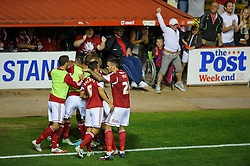 Bristol City players celebrate a goal from Midfielder Joe Bryan (ENG) to give their side a 2-1 lead during the second half of the match - Photo mandatory by-line: Rogan Thomson/JMP - Tel: 07966 386802 - 04/09/2013 - SPORT - FOOTBALL - Ashton Gate, Bristol - Bristol City v Bristol Rovers - Johnstone's Paint Trophy - First Round - Bristol Derby