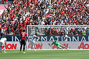 Real Madrid Midfielder Casemiro shoots and scores from the penalty spot 1-1 past Manchester United Goalkeeper David De Gea during the AON Tour 2017 match between Real Madrid and Manchester United at the Levi's Stadium, Santa Clara, USA on 23 July 2017.