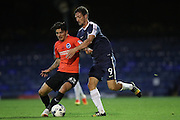 Brighton & Hove Albion's midfielder Jesse Starkey (33) and Southend United striker David Mooney (9) during the EFL Trophy match between Southend United and U23 Brighton and Hove Albion at Roots Hall, Southend, England on 30 August 2016.