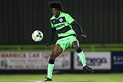 Forest Green Rovers Daniel Ogunleye(11) controls the ball during the FA Youth Cup match between U18 Forest Green Rovers and U18 Cheltenham Town at the New Lawn, Forest Green, United Kingdom on 29 October 2018.
