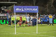 FODBOLD: Spillerne går på banen før kampen i ALKA Superligaen mellem FC Helsingør og Lyngby Boldklub den 9. december 2017 på Helsingør Stadion. Foto: Claus Birch