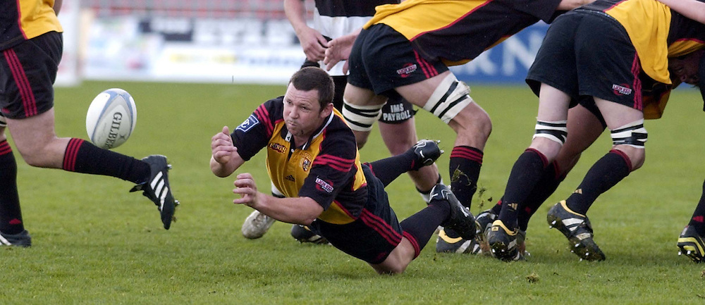 Thames Valley no 9 Aaron McDonald fires the off the back of the scrum  during the NPC second Division clash between Hawkes Bay and Thames Valley played at McLean Park, Napier, New Zealand, today, 21 August 2004. Hawkes Bay won the match 88-0<br />