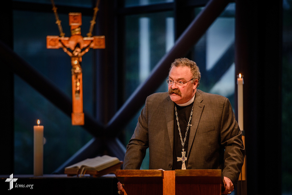 The Rev. Dr. Matthew C. Harrison, LCMS president, addresses floor-committee members and Synod staff at the International Center of The Lutheran Church–Missouri Synod on Friday, May 27, 2016, in Kirkwood, Mo. LCMS Communications/Erik M. Lunsford