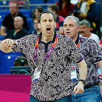 08 August 2012: Russia head coach David Blatt reacts during Team Russia vs Team Lithuania, during the men's basketball quarter-finals, at the 02 Arena, in London, Great Britain.