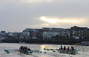 Putney, GREAT BRITAIN,  left, crew Personality and crew Looks, racing, as the crews approach, Chiswick Pier, during the 2008 Varsity/Cambridge University Trial Eights, raced over the championship course. Putney to Mortlake, Tue. 16.12.2008. [Mandatory Credit, Peter Spurrier/Intersport-images..Crew Personality. Bow Dan SHAUGHNESSY, 2. Shane O'MARA, 3. John CLAY, 4. Ryan MONAGHAN, 5. Fred GILL, 6. Deaglan McEACHERN, 7. Hardy CUTBASCH, stroke,. Rob WEITEMAYER and cox Rebecca DOWBIGGIN...Crew Looks;.Bow James STRAWSON. 2. Joel JENNINGS, 3. Code STERNAL, 4 Peter MARSLAND, 5. George NASH, 6. Henry PELLY, 7. Tom RANSLEY, stroke Silas STAFFORD and Cox Helen HODGES.. Varsity Boat Race, Rowing Course: River Thames, Championship course, Putney to Mortlake 4.25 Miles,