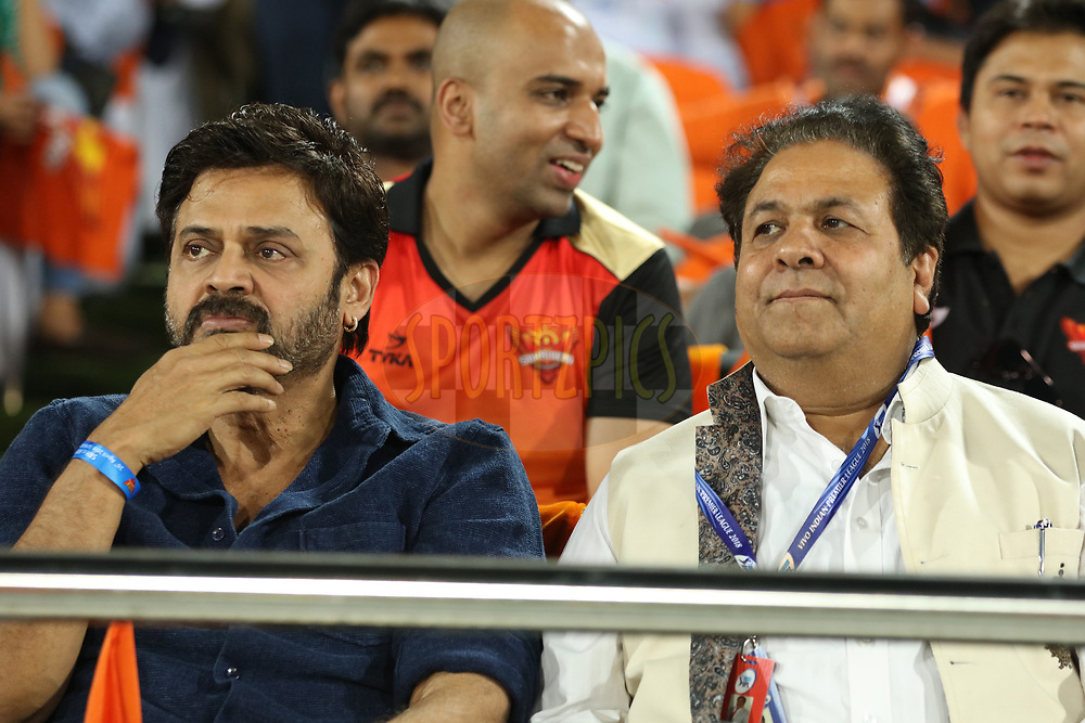Rajeev Shukla , IPL Chairman with Actor Venkatesh during match twenty five of the Vivo Indian Premier League 2018 (IPL 2018) between the Sunrisers Hyderabad and the Kings XI Punjab  held at the Rajiv Gandhi International Cricket Stadium in Hyderabad on the 26th April 2018.<br /> <br /> Photo by Saikat Das /SPORTZPICS for BCCI