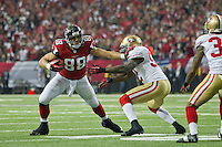 20 January 2013: Tight end (88) Tony Gonzalez of the Atlanta Falcons catches a pass and runs against the San Francisco 49ers during the first half of the 49ers 28-24 victory over the Falcons in the NFC Championship Game at the Georgia Dome in Atlanta, GA.