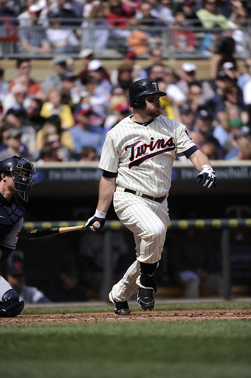 MINNEAPOLIS - APRIL 24:  Jason Kubel #16 of the Minnesota Twins bats against the Cleveland Indians on April 24, 2011 at Target Field in Minneapolis, Minnesota.  The Twins defeated the Indians 4-3.  (Photo by Ron Vesely)  Subject:  Jason Kubel