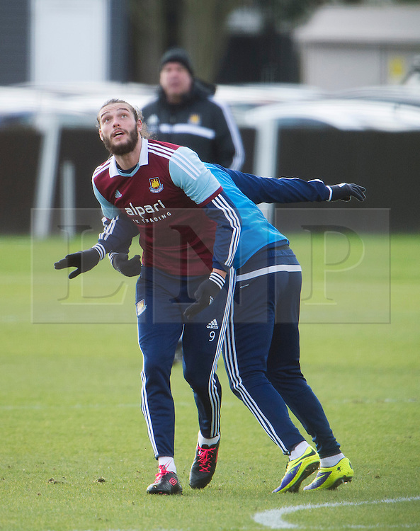 © London News Pictures. 28/01/2014. London, UK. Striker ANDY CARROLL during West Ham United training at their training ground in Chadwell Heath, East London ahead of their premiership game away to Chelsea on tomorrow night (29/01/2014). Photo credit: Ben Cawthra/LNP