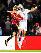 Torres and Oquchi Onyewu  during the Semi Final soccer match of the 2009 Confederations Cup between Spain and the USA played at the Freestate Stadium,Bloemfontein,South Africa on 24 June 2009.  Photo: Gerhard Steenkamp/Superimage Media.
