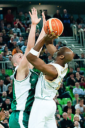 William Kendrick Gregory of Union Olimpija vs Edo Muric of Krka during second semi-final match of Basketball NLB League at Final four tournament between KK Union Olimpija and Krka (SLO), on April 19, 2011 at SRC Stozice, Ljubljana, Slovenia. (Photo By Matic Klansek Velej / Sportida.com)