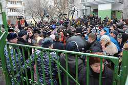61009827<br /> A speaker of the Interior Ministry is interviewed outside the Moscow secondary school 263 in Moscow, Russia, Feb. 3, 2014. A gunman who had taken about 20 students hostage at a Moscow public school was detained and all hostages were rescued, the Interior Ministry said Monday. The gunman, a senior student of the Moscow secondary school 263, killed a policeman and a teacher, and injured another police officer, Moscow, Russia, Monday, 3rd February 2014. Picture by  imago / i-Images<br /> UK ONLY