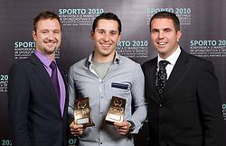 Mobitel  team with Awards:  Niko Kusar, Damir Pavlovic and Tomaz Jontes during Sporto  2010 Gala Dinner and Awards ceremony at Sports marketing and sponsorship conference, on November 29, 2010 in Hotel Slovenija, Portoroz/Portorose, Slovenia. (Photo By Vid Ponikvar / Sportida.com)