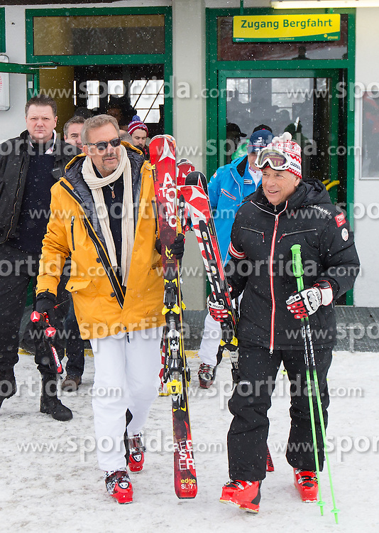 09.02.2013, Planai, Schladming, AUT, FIS Weltmeisterschaften Ski Alpin, Abfahrt, Herren, im Bild Hollywoodstar Kevin Costner und Peter Schroecksnadel, OeSV- Praesident // Hollywoodstar Kevin Costner with Peter Schroecksnadel, President of OeSV before the mens Downhill at the FIS Ski World Championships 2013 at the Planai Course, Schladming, Austria on 2013/02/09. EXPA Pictures © 2013, PhotoCredit: EXPA/ Johann Groder