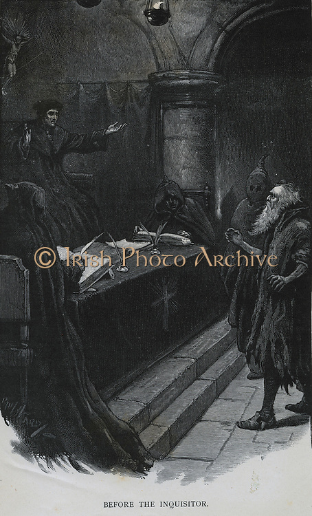 Spanish Inquisition - late 15th century. A Spanish Jew before the Grand Inquisitor. Engraving 1891.