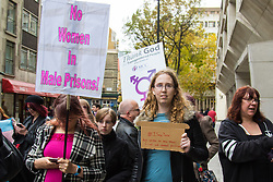 Ministry of Justice, Westminster, London, October 30th 2015. Transexual and transgender men, women and their supporters protest otside the Ministry of Justice in London ahead of the delivery of a 140,000-signature petition demanding that Tara Hudson, a  vulnerable transgender woman currently being held in a men's prison is moved to a women's facility. The protest coincides with an appeal on Hudson's behalf at Bristol Crown Court. Together with the petition is a letter pointing out that the MOJ is breaking its own guidelines in relation to the imprisonment of trans people.  // Licencing Contact: paul@pauldaveycreative.co.uk Mobile 07966 016 296
